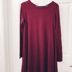 Forever 21 Long-Sleeve Maroon Dress